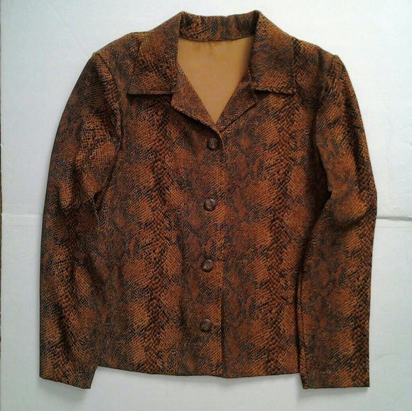 Jackets & Blazers - Brown Reptile Print Jacket size Large